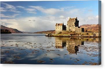 Canvas Print featuring the photograph Eilean Donan - Loch Duich Reflection - Dornie by Grant Glendinning