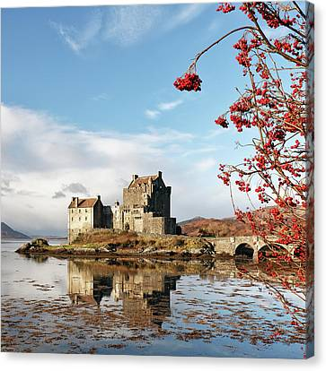 Canvas Print featuring the photograph Eilean Donan - Loch Duich Reflection - Skye by Grant Glendinning