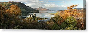 Canvas Print featuring the photograph Eilean Donan Panorama - Autumn by Grant Glendinning