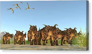 Einiosaurus Dinosaurs Canvas Print by Corey Ford