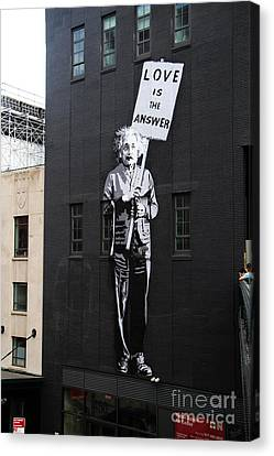 Einstein Painting And Quote Canvas Print