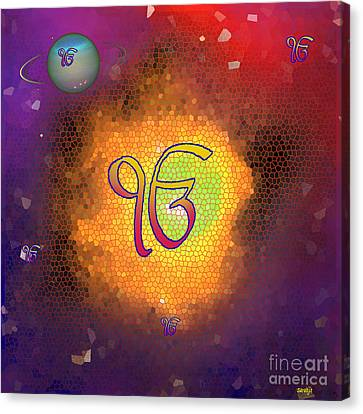 Sikh Art Canvas Print - Ek Onkar Galaxy by Sarabjit Singh