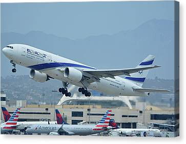 Canvas Print featuring the photograph El Al Boeing 777-258er 4x-ece Los Angeles International Airport May 3 2016 by Brian Lockett