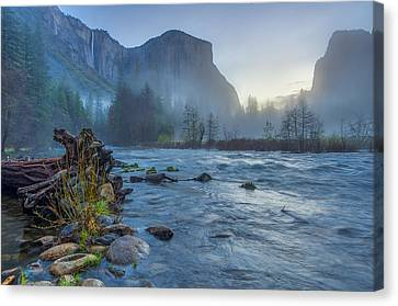 Canvas Print featuring the photograph El Capitan Merced River Dawn by Scott McGuire