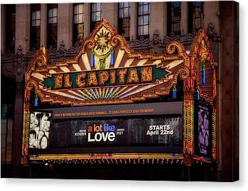 El Capitan Theatre Marque, Los Angeles, California Canvas Print