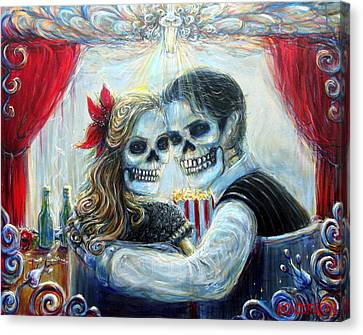 Canvas Print featuring the painting El Cine by Heather Calderon