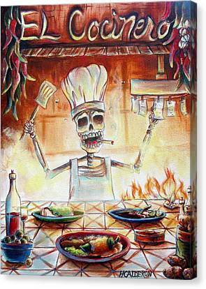Chile Canvas Print - El Cocinero by Heather Calderon