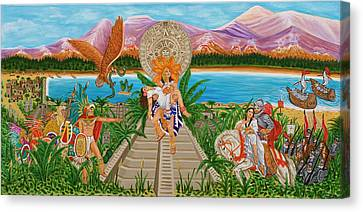 Canvas Print featuring the painting El Encuentro by Evangelina Portillo