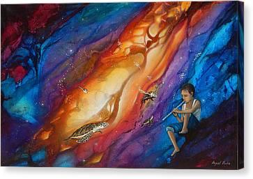 El Flautista Canvas Print by Angel Ortiz