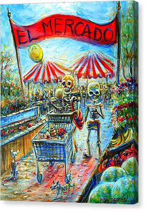 Canvas Print featuring the painting El Mercado by Heather Calderon