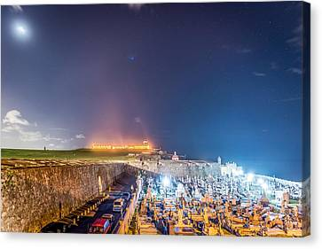 El Morro And New Moon Canvas Print by Tim Sullivan