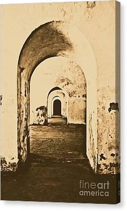 El Morro Fort Barracks Arched Doorways Vertical San Juan Puerto Rico Prints Rustic Canvas Print by Shawn O'Brien