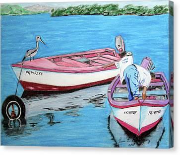 El Pescador De Guanica Canvas Print by Luis F Rodriguez