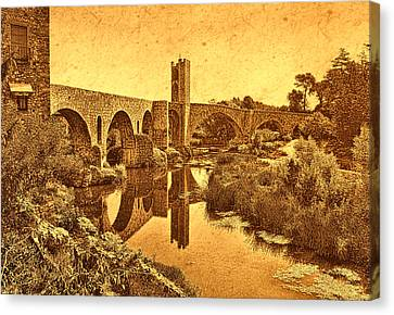 El Pont Viel Canvas Print by Nigel Fletcher-Jones