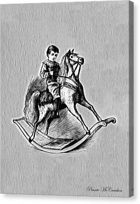 Canvas Print featuring the digital art Elaborate Rocking Horse by Pennie McCracken