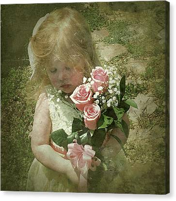 Elaina With Flowers Canvas Print by Jim Pearson