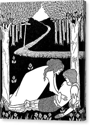 Armor Canvas Print - Elaine Finds Lancelot In The Garden by Aubrey Beardsley