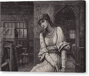 Woman Drawings Drawings Canvas Print - Elaine by John Melhuish Strudwick