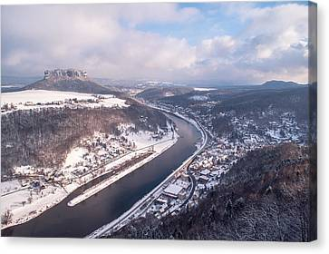 Gorgeous View Canvas Print - Elbe Valley With Mountain Pfaffenstein by Jenny Rainbow