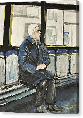 Elderly Lady On 107 Bus Montreal Canvas Print by Reb Frost
