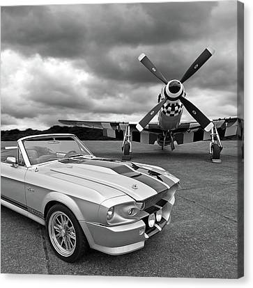 Vintage Aircraft Canvas Print - Eleanor Mustang With P51 Black And White by Gill Billington