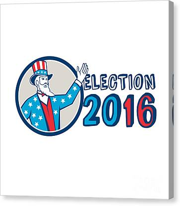 Election 2016 Uncle Sam Hand Up Circle Retro Canvas Print by Aloysius Patrimonio