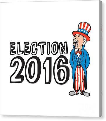 Election 2016 Uncle Sam Shouting Retro Canvas Print by Aloysius Patrimonio