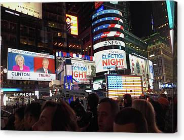 Election Night In Times Square 2016 Canvas Print