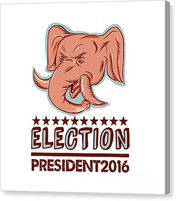 Election President 2016 Republican Elephant Mascot Canvas Print by Aloysius Patrimonio