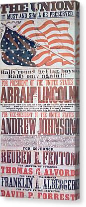Electoral Campaign Poster For Abraham Lincoln, 1864 Canvas Print