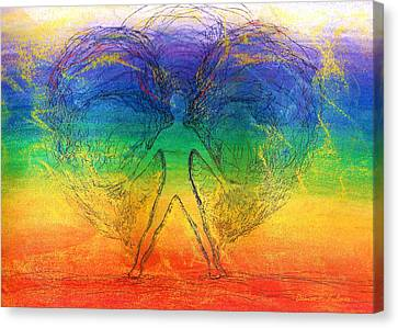 Canvas Print featuring the mixed media Electric Angel by Denise Fulmer