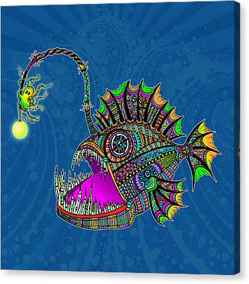 Canvas Print featuring the drawing Electric Angler Fish by Tammy Wetzel
