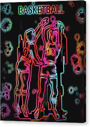 Nike Canvas Print - Electric Basketball Poster by Dan Sproul
