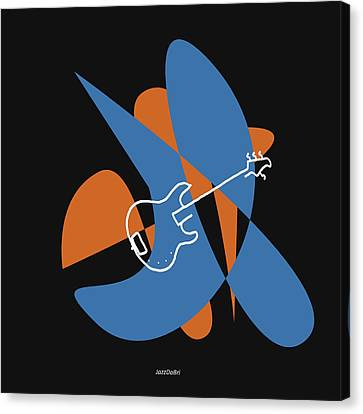 Electric Bass In Blue Canvas Print