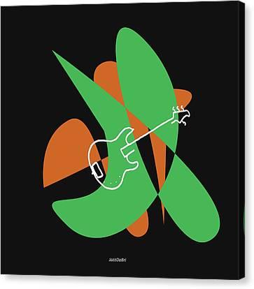 Electric Bass In Green Canvas Print by David Bridburg