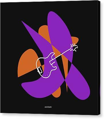 Electric Bass In Purple Canvas Print by David Bridburg