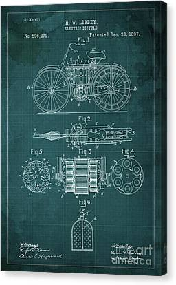 Electric Bicycle Patent Blueprint Year 1897 Green Vintage Art Canvas Print by Pablo Franchi