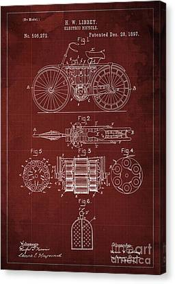 Electric Bicycle, Patent Blueprint, Year 1897 Canvas Print by Pablo Franchi
