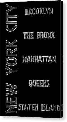 Electric Boroughs Of New York City Canvas Print