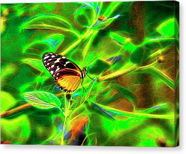 Canvas Print featuring the digital art Electric Butterfly by James Steele