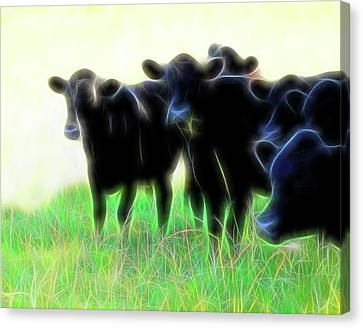 Electric Cows Canvas Print by Ann Powell
