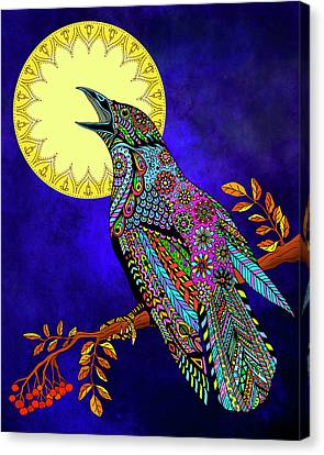 Canvas Print featuring the drawing Electric Crow by Tammy Wetzel