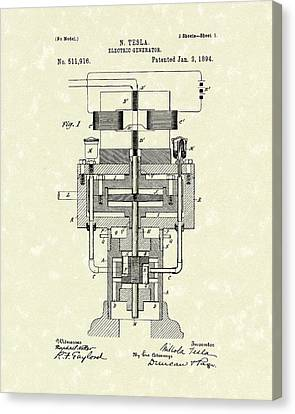Electric Generator 1894 Patent Art Canvas Print