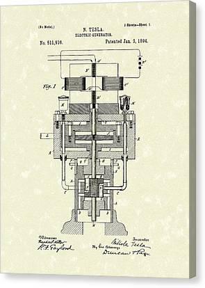 Electric Generator 1894 Patent Art Canvas Print by Prior Art Design