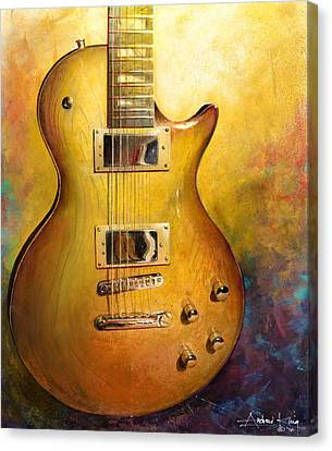 Canvas Print featuring the painting Electric Gold by Andrew King