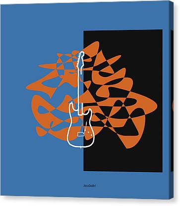 Electric Guitar In Blue Canvas Print by David Bridburg