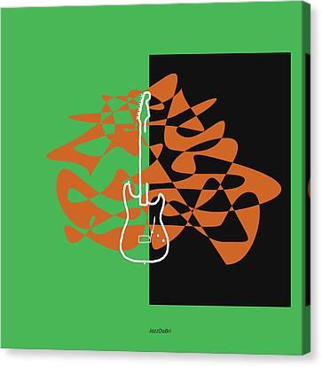 Electric Guitar In Green Canvas Print by David Bridburg