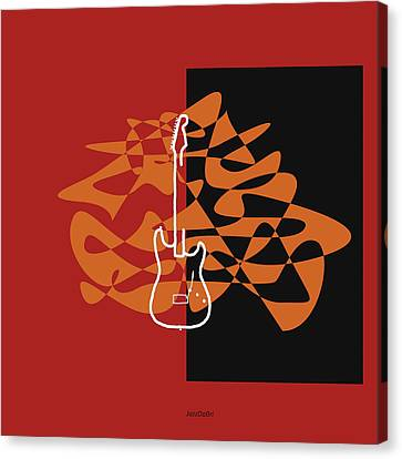 Electric Guitar In Orange Red Canvas Print by David Bridburg