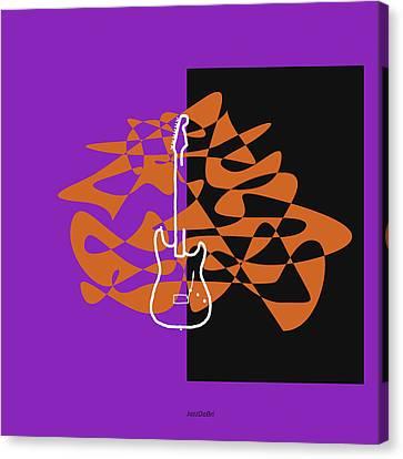 Electric Guitar In Purple Canvas Print by David Bridburg