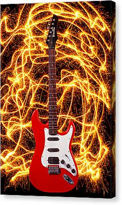Electric Guitar With Sparks Canvas Print by Garry Gay